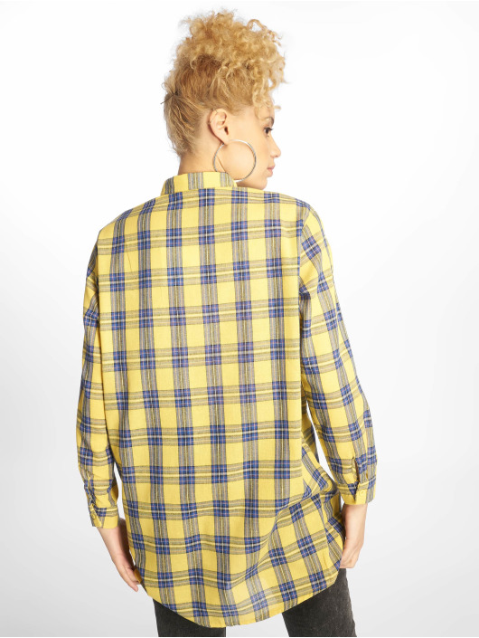 Missguided jurk Oversized Shirt geel