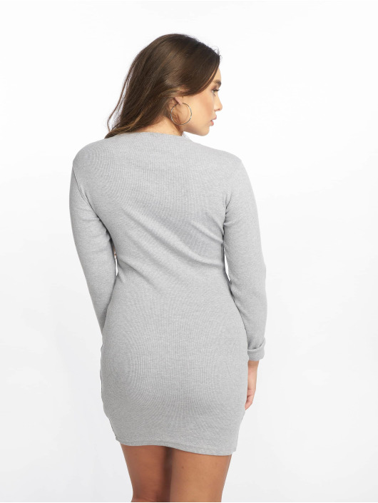 Missguided jurk Ribbed Long Sleeve Bodycon grijs