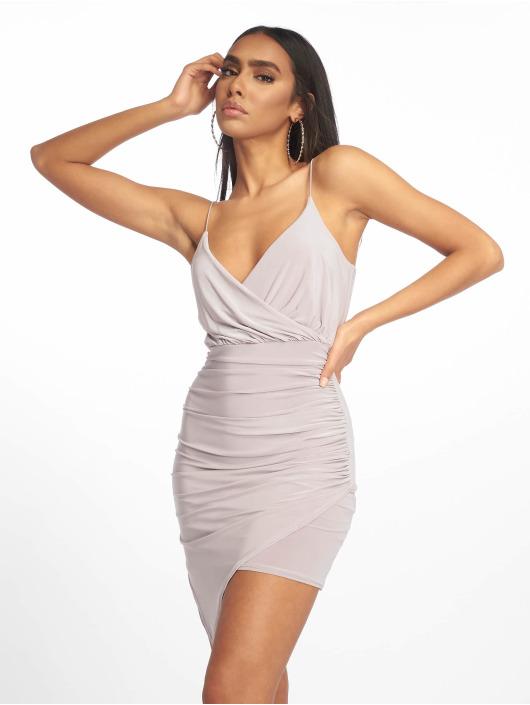 Missguided jurk Strappy Slinky Wrap Bodycon grijs