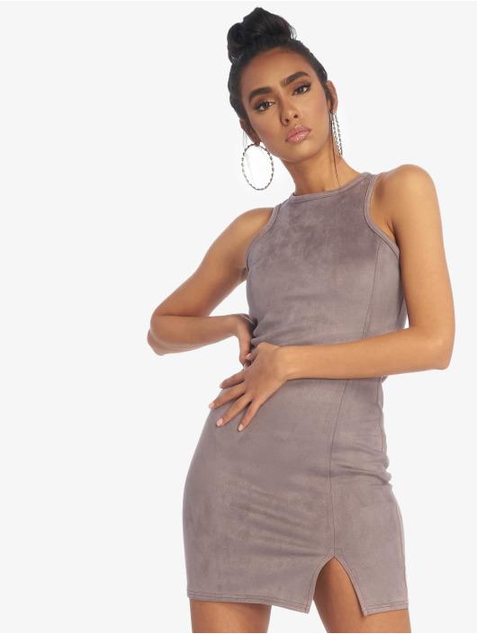 Missguided jurk Bonded Suede Split Side Mini grijs