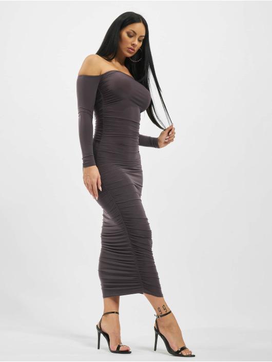 Missguided jurk Bardot Slinky Ruched Midaxi grijs