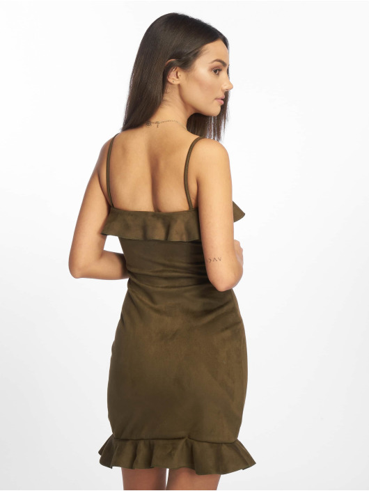 Missguided jurk Bonded Suede Frill khaki