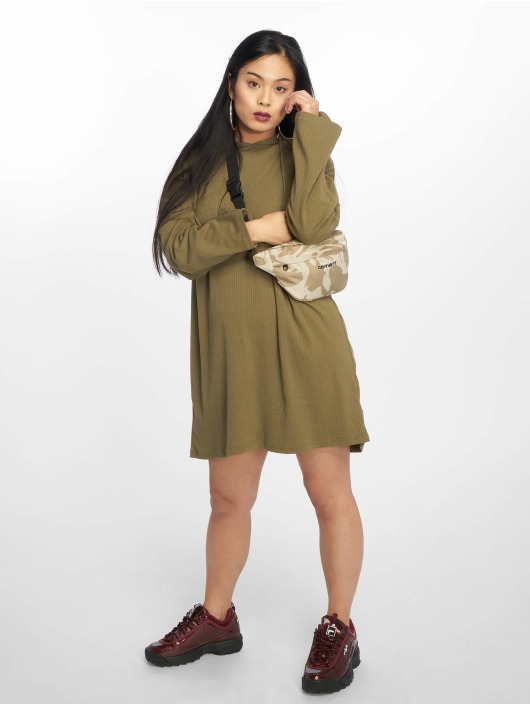 Missguided jurk Oversized Hooded Ribbed olijfgroen