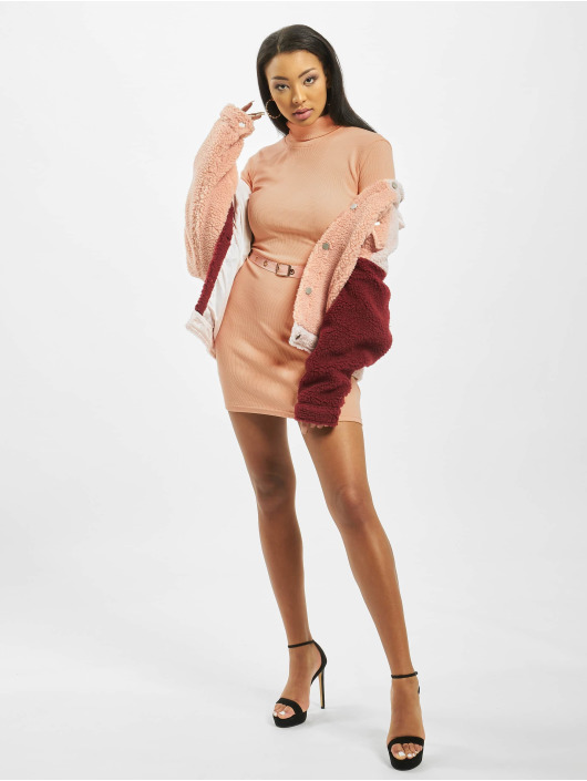 Missguided jurk Roll Neck Belted Longsleeve Mini oranje
