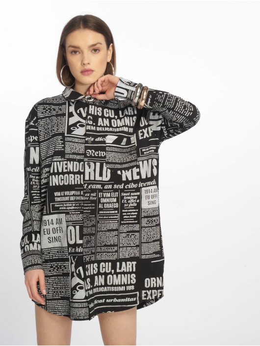 Missguided jurk Oversized Jersey Shirt Newspaper zwart