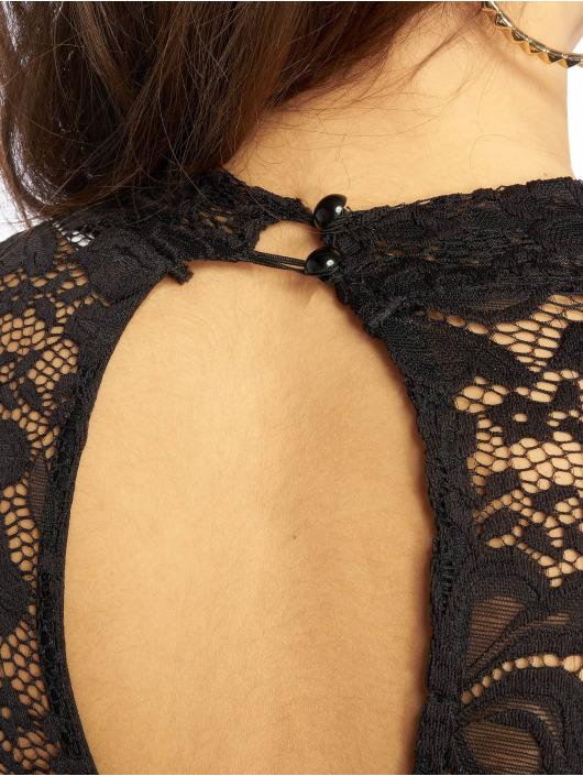 Missguided jurk High Neck Long Sleeve Lace Midi zwart