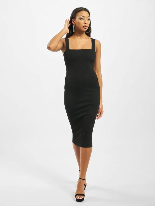 Missguided jurk Square Neck Rib Midaxi zwart