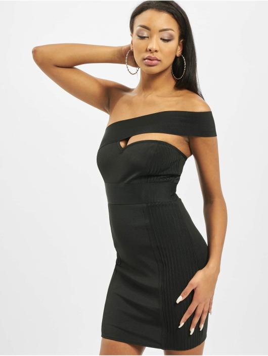 Missguided jurk One Shoulder Bandage Ribbed zwart