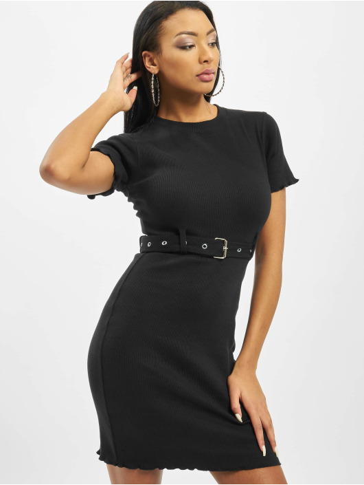 Missguided jurk Tall Belted Crew Neck Rib Mini zwart