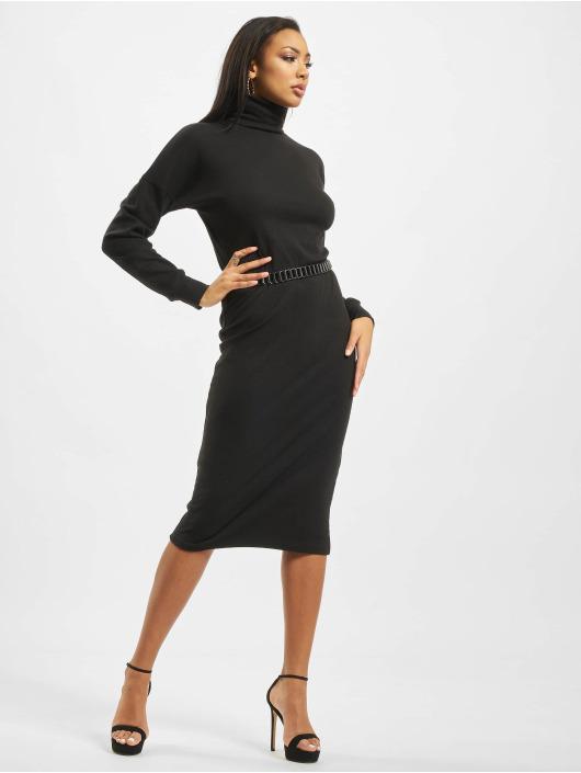 Missguided jurk Oversized Ribbed Roll Neck Longsleeve zwart