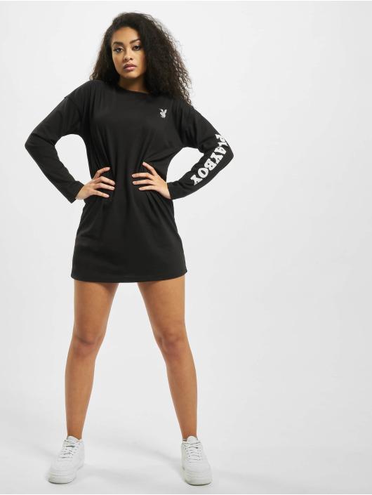 Missguided jurk Playboy Diamante Back Longsleeve T-Shirt zwart
