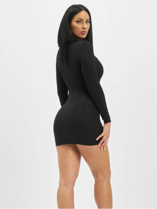 Missguided jurk Petite High Neck Longsleeve Ribbed zwart