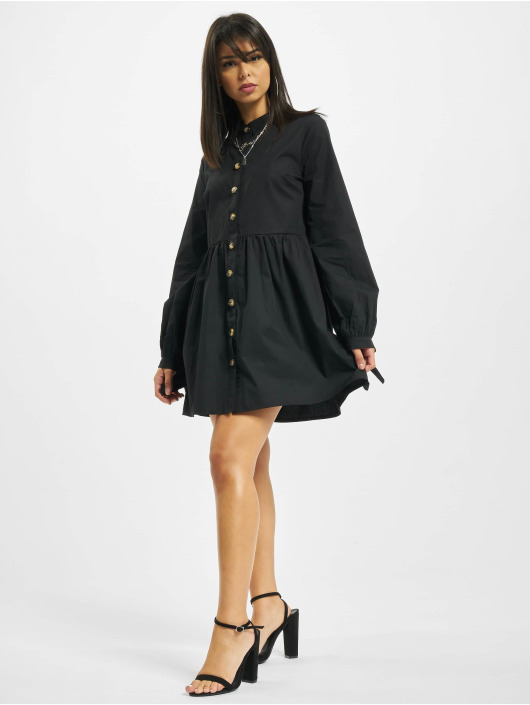 Missguided jurk Tie Cuff Shirt Horn Button zwart