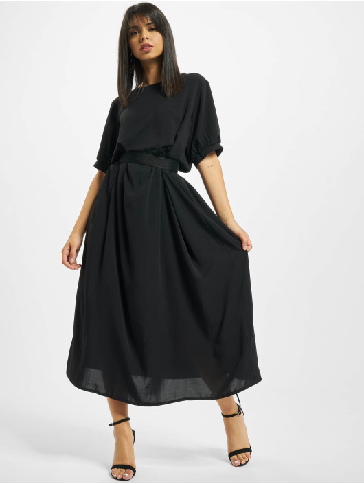 Missguided jurk Puff Sleeve Midi Smock zwart