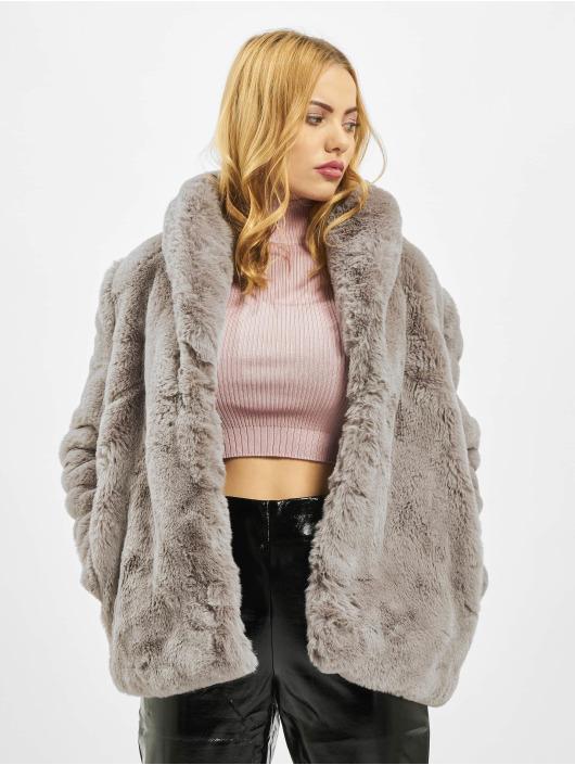 Missguided Kåper Shawl Collar Faux Fur grå