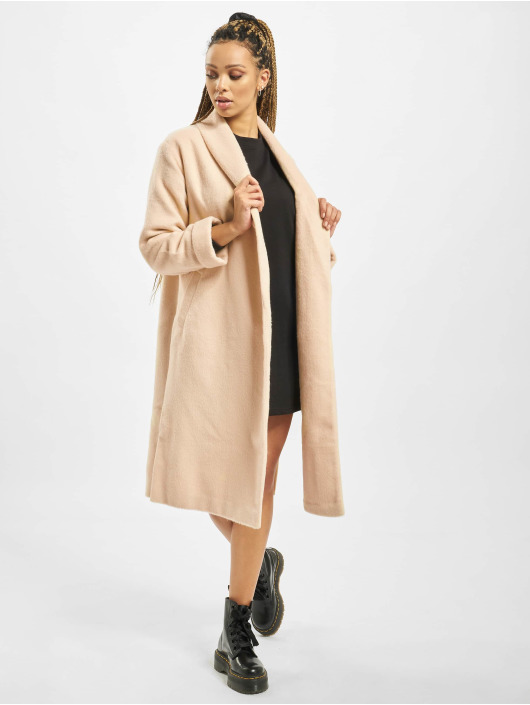 Missguided Kabáty Shawl Collar W Side Splits béžová