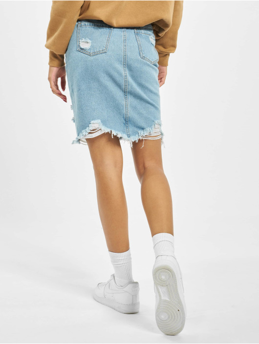 Missguided Kjol Busted Hem Denim Midi blå