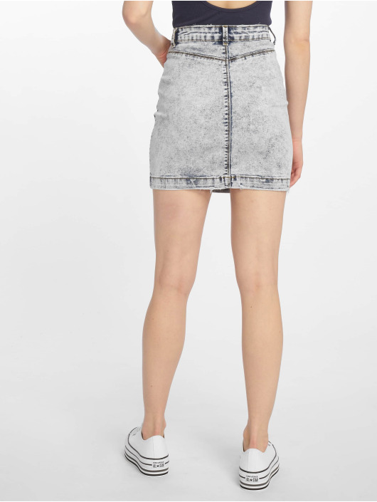 Missguided Bleach Wash Superstretch Denim Skirt Light Blue
