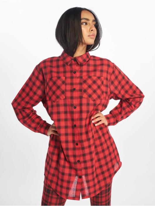 Missguided Klær Oversized Shirt Dress Check red