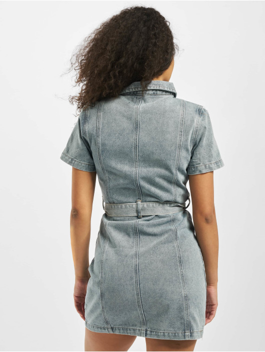 Missguided Klänning Acid Wash Zip Up Self blå