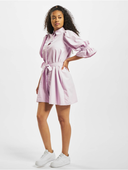 Missguided Klänning Puff Sleeve Belted Mini Shirt lila