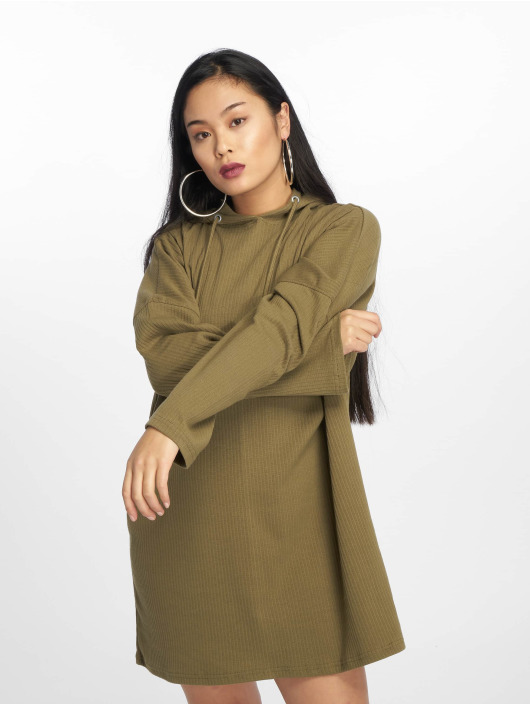 Missguided Klänning Oversized Hooded Ribbed oliv