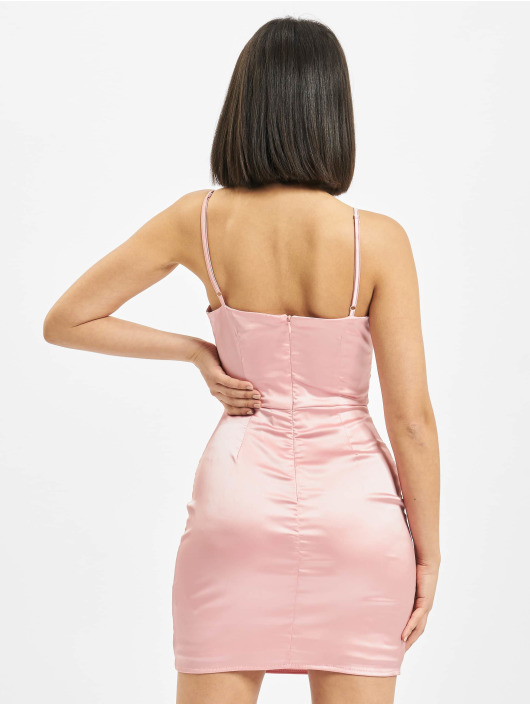 Missguided Klänning Cut Out Stretch Satin rosa