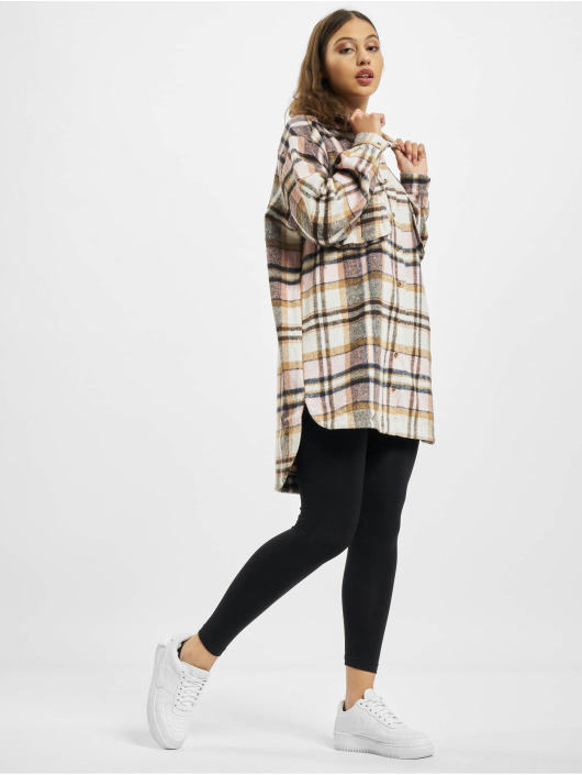 Missguided Klänning Oversized Shirt Brushed Check rosa