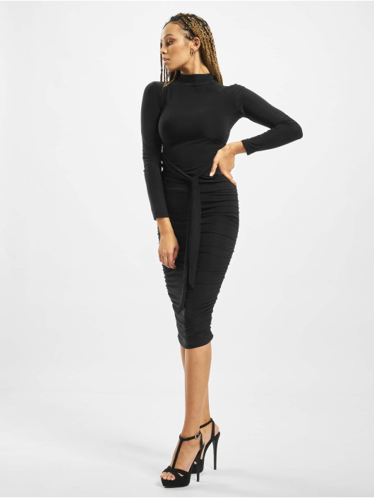Missguided Klänning High Neck Longsleeve Ruched svart