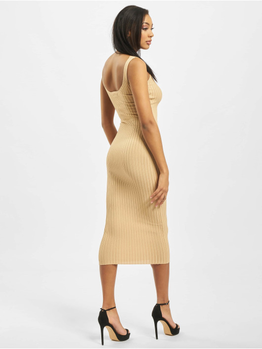 Missguided Kleid Popper Ribbed Knitted beige