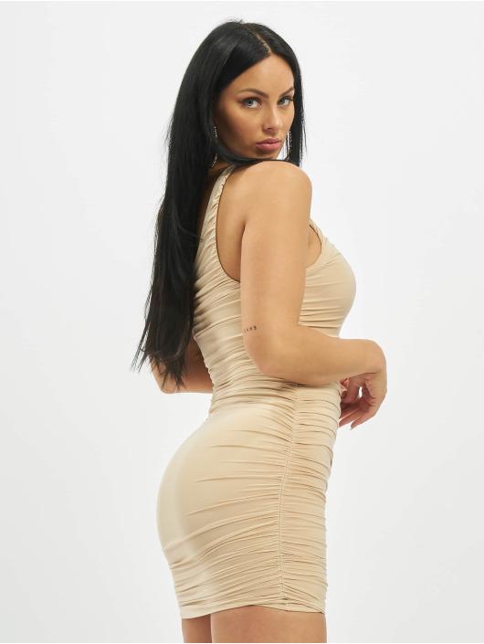Missguided Kleid One Shoulder Slinky Ruched Mini beige