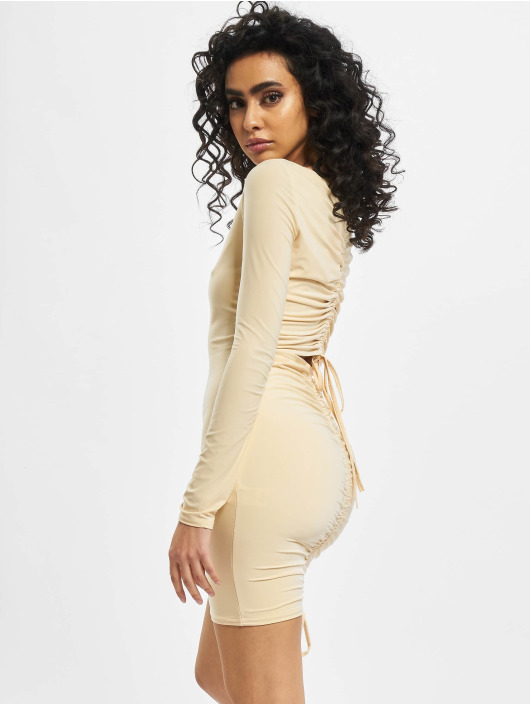 Missguided Kleid Long Sleeve Ruched Bum beige