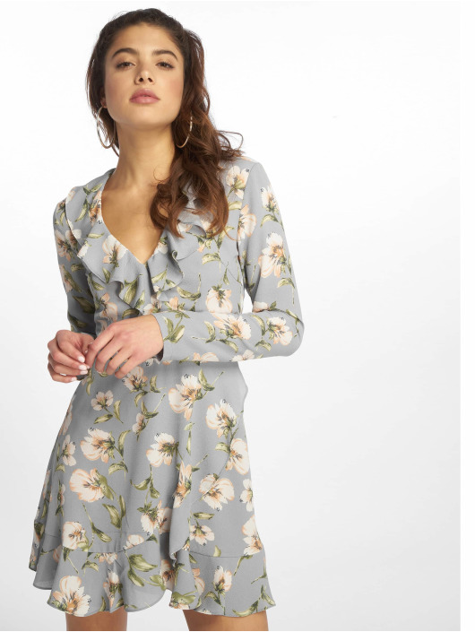 Missguided Kleid Floral Ruffle Tea blau
