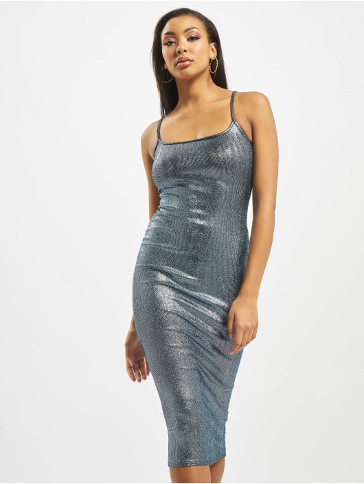Missguided Kleid Metallic Strappy blau