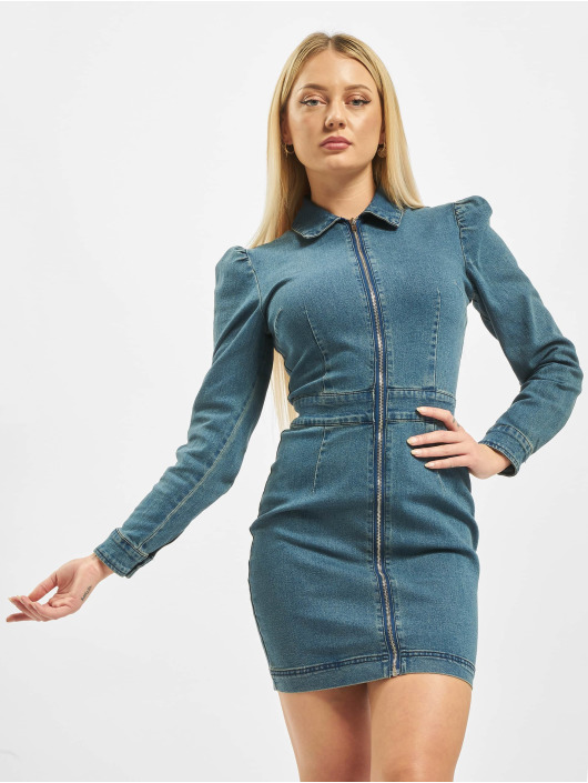 Missguided Kleid Puff Sleeve Zip Through Denim blau