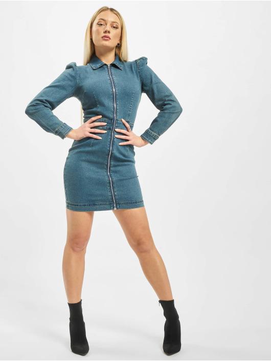 Missguided Kleid Puff Sleeve Zip Through Denim blau
