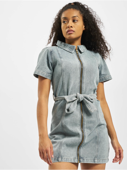 Missguided Kleid Acid Wash Zip Up Self blau