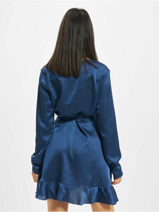 Missguided Kleid Ruffle Hem Wrap Tea blau