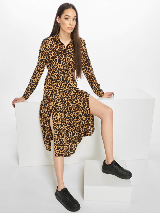 Missguided Kleid Midi Leopard braun