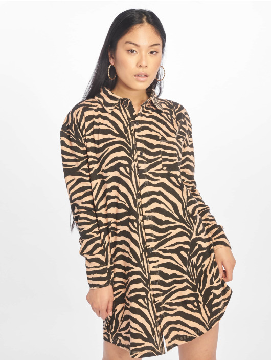 Missguided Kleid Oversized Ls Zebra Shirt braun
