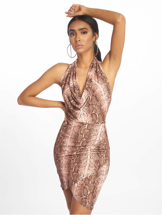 Missguided Kleid Halterneck Cowl Wrap Hem Mini braun