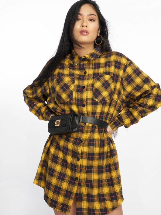 Missguided Kleid Oversized Check gelb