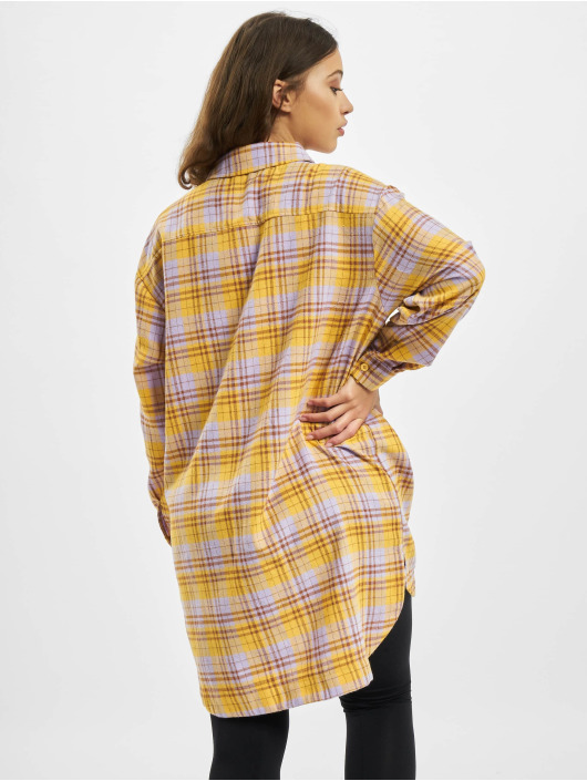 Missguided Kleid Oversized Shirt Check gelb