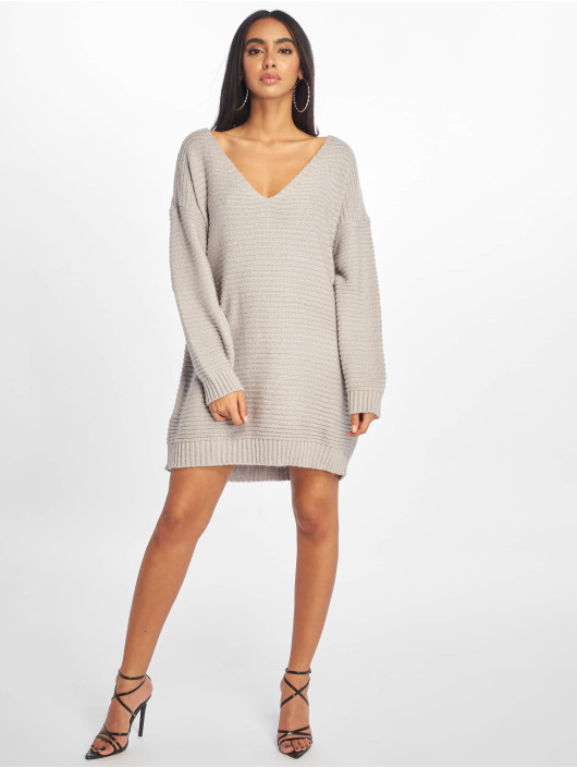 Missguided Kleid V Neck Ribbed Knitted Jumper grau