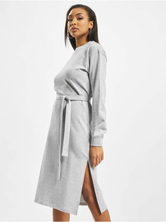 Missguided Kleid Sweater Midi Tie Belt grau