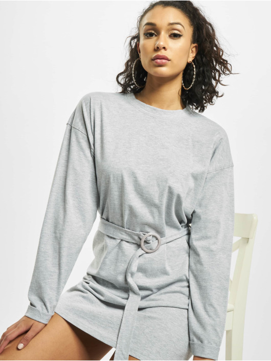 Missguided Kleid Belted T-Shirt Longsleeve grau