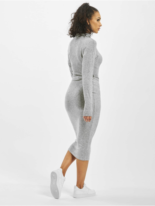 Missguided Kleid Brushed Knit High Neck Belted Midi grau