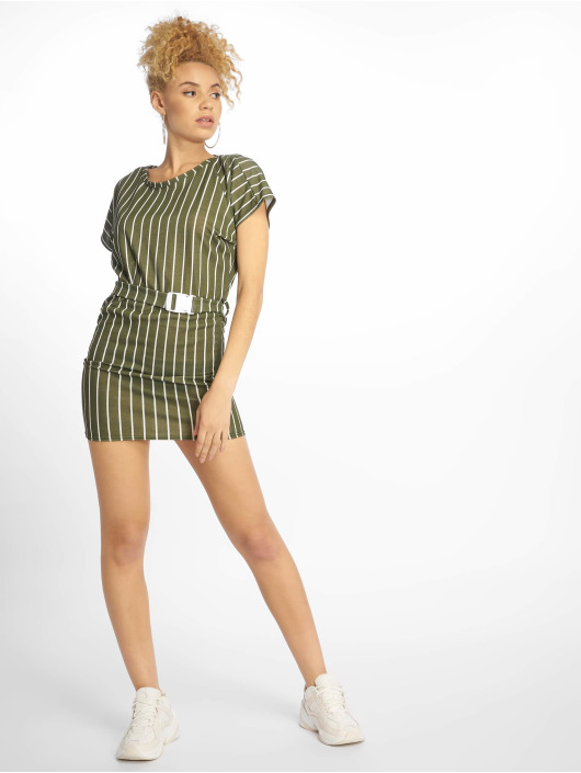 Missguided Kleid Tshirt Dress Buckle Belt khaki