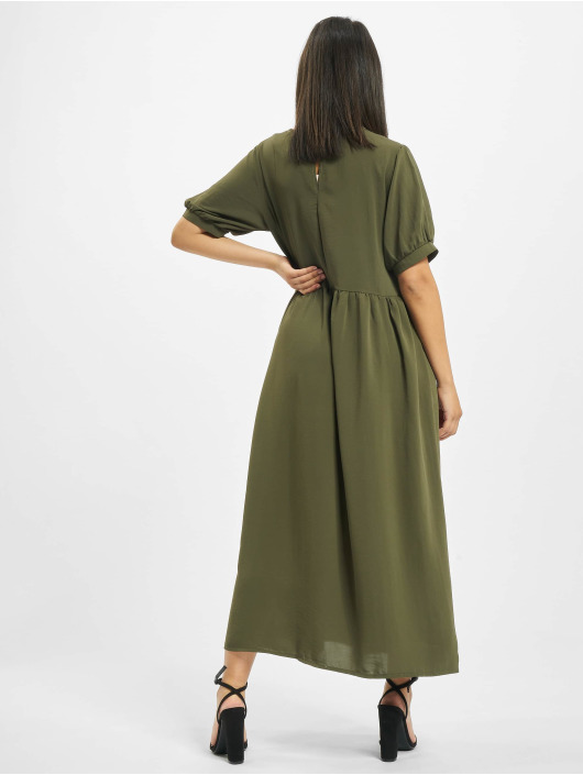 Missguided Kleid Puff Sleeve Midi Smock khaki
