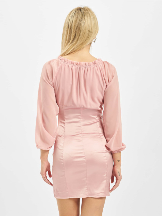 Missguided Kleid Satin Hook And Eye Sheer Longsleeve rosa